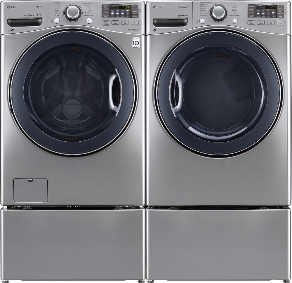 lg 4.3 cu ft ultra large turbowash washer and dryer set